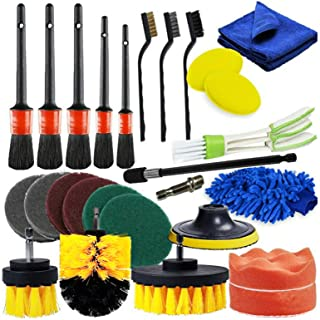 26 PCS Drill Brush Attachments Car Detailing Brush Kit for Auto Exterior and Interior Includes Scrub Pads Sponges Detailin...