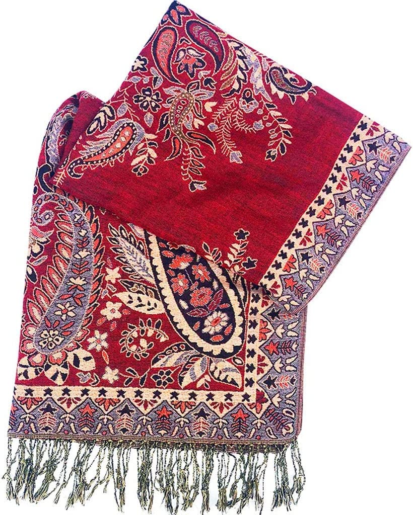 Scarves Fashion National Wind Shawl Fringed Scarf Tourism Sunscreen Scarves 180x70cm Seasons Available Cloak Shawl Stole Scarf (Color : RedC)