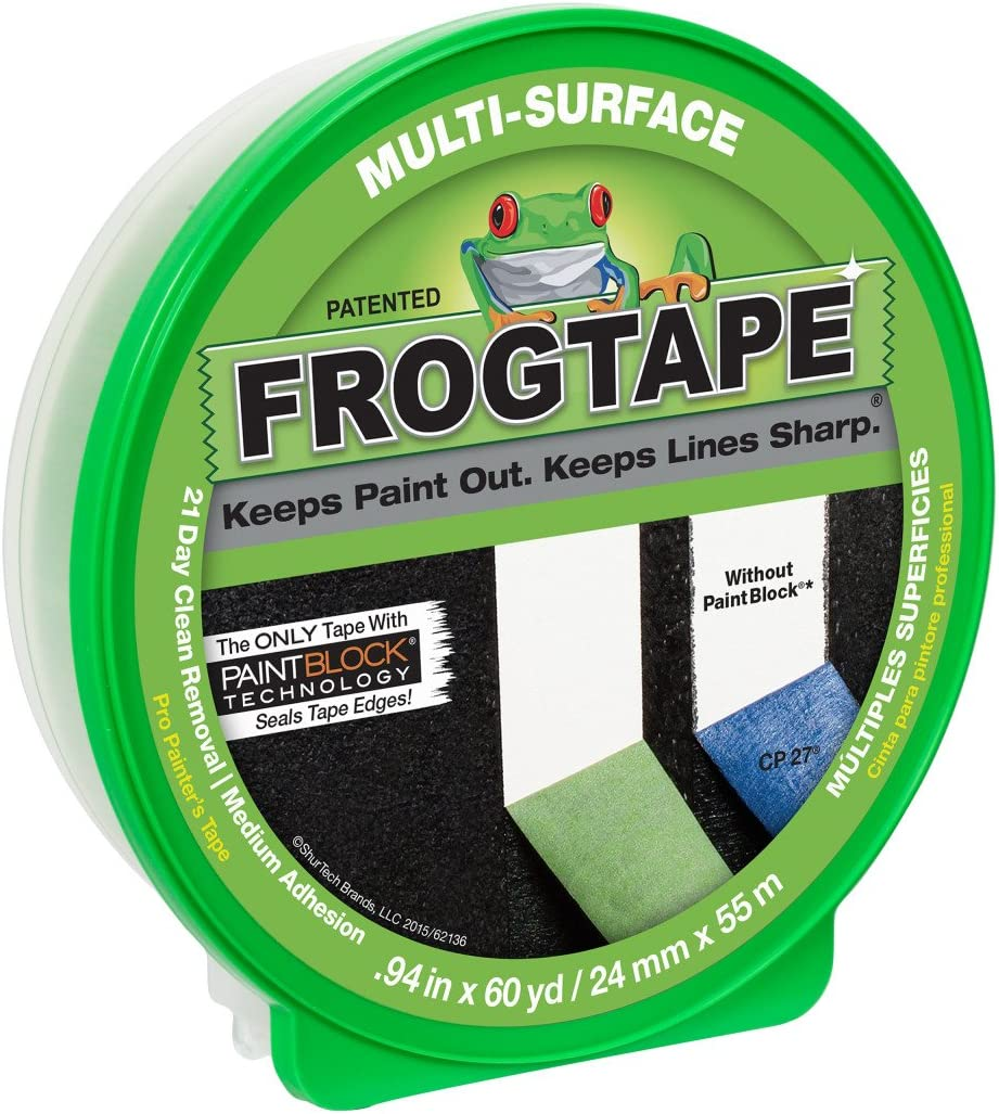 """FROGTAPE 1358463 Multi-Surface Painter's Tape with PAINTBLOCK, Medium Adhesion, 0.94"""" Wide x 60 Yards Long, Green - Painters Masking Tape -"""