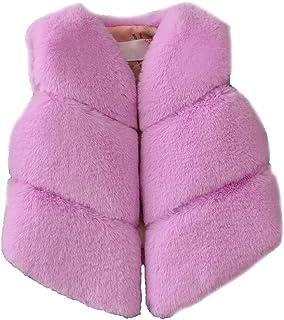 FOLOBE, Los niños de otoño e Invierno Faux Fur Chalecos Los nuevos Cabritos imitación Fox Pelo Gilets Abrigos para Las niñas y los niños
