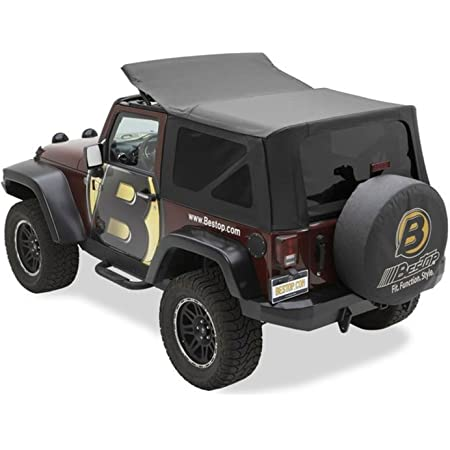 Rampage Products 99935 Factory Replacement Sailcloth Soft Top for 2007-2010 Wrangler JK 2 Door Black Diamond w//Tint Windows