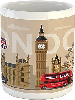 Ambesonne London Mug, Famous Britain Landmarks Monuments Art Pattern Touristic Travel Destination, Ceramic Coffee Mug Cup for Water Tea Drinks, 11 oz, Beige