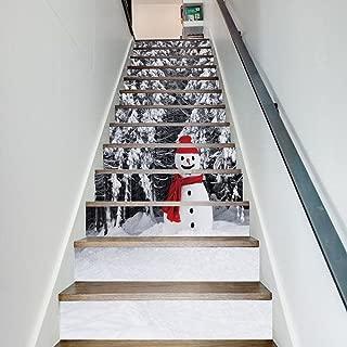 zhiyu&art decor Christmas 3D Stair Decals Stickers-Snowman Stair Risers Stickers Removable Staircase Decals Stickers Mural Wallpaper for Christmas Decoration 13Pcs/Set