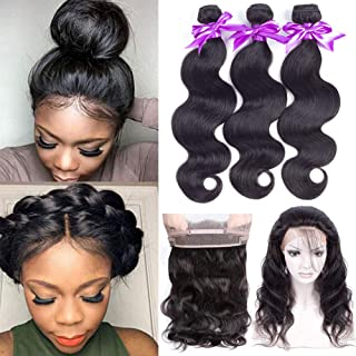 Snow Hair 360 Lace Frontal with Bundles 18 20 22 &16 Brazilian Body Wave Bundles with 360 Frontal Closure Pre Plucked 100% Unprocessed Human Hair Bundles With Lace Closure
