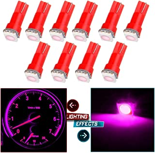cciyu 10 Pack Xenon Pink Car T5 5050 1SMD Wedge LED Light Bulbs 74 17 18 37 70 73 2721 Replacement fit for Dashboard instrument Panel Light Bulbs LED Lamps