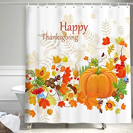 Thanksgiving Day Pumpkin Sunshine Waterproof Fabric Shower Curtain 71x71/""