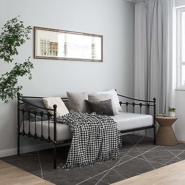 SKM Cadre de canapé-lit Noir Métal 90x200 cm-755