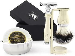 Zestaw golarek z podwójną krawędzią dla mężczyzn borsuk szczotka do golenia mydła i stojak do golenia misek ze stali nierd...