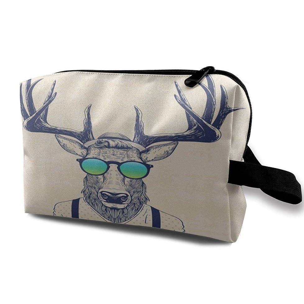 遺産領事館外交官クールな鹿 化粧バッグ 収納袋 女大容量 化粧品クラッチバッグ 収納 軽量 ウィンドジップ