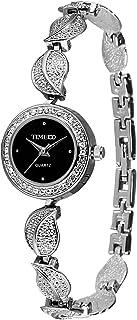 Time100 Women's Fashion Unique Luxury Diamond Round Dial Leaf Shape Bracelet Ladies Quartz Wrist Watches