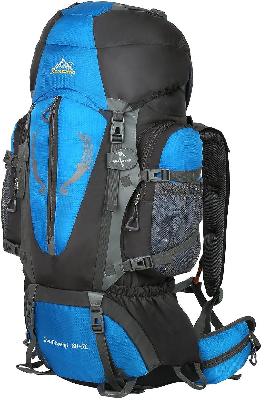 HWJIANFENG Backpack for Outdoor Sports Hiking Traveling Trekking Camping Waterproof Mountaineering Ultralarge Capacity Internal Frame Men Women 80L+5L blueee