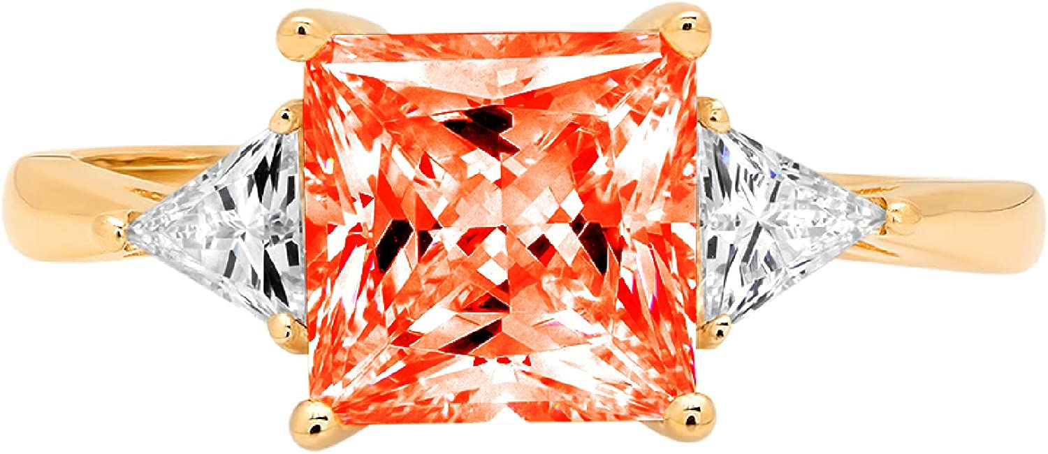 2.34ct Princess Trillion cut 3 stone Solitaire Red Ideal VVS1 Simulated Diamond CZ Engagement Promise Statement Anniversary Bridal Wedding Ring Solid 14k Yellow Gold