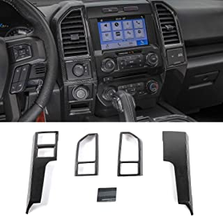 Keptrim for F150 ABS Carbon Fiber Central Console Air Conditioner Panel Trim for 2015 2016 2017 2018 Ford F150, 5pcs