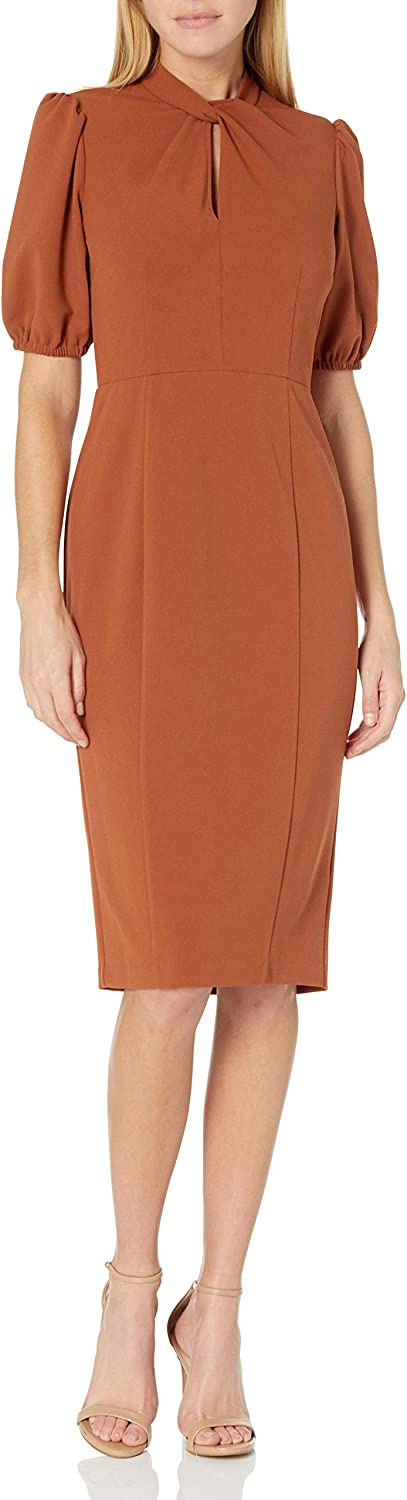 Donna Morgan Women's Stretch Crepe 70% OFF Limited price Outlet Sleeve Twist Puff Neck Sheath