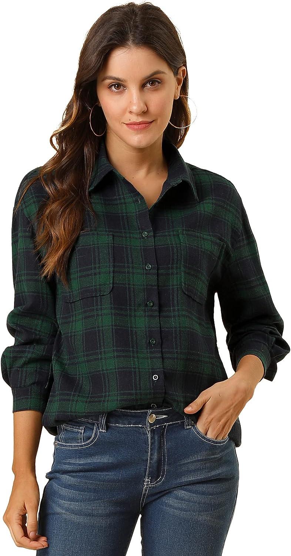 Allegra K Women's Plaid Shirts Long Sleeve Chest Pockets Classic Button Down Shirts