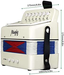 Mugig Button Accordion, 10 Keys Control Accordion include 3 Air Valve, Easy to Play, Lightweight and Environmentally-...