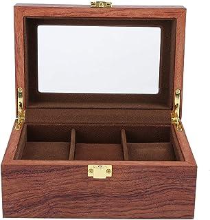 3 Grid Watch förvaringslåda smyckekollektion fodral organisatör hållare med avtagbar klockkudde transparent lock metallstä...