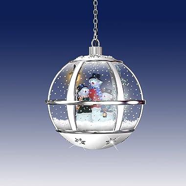 Christmas Concepts® Boule à neige musicale à suspendre avec lumières LED 3 bonshommes de neige Blanc/argenté 30 cm