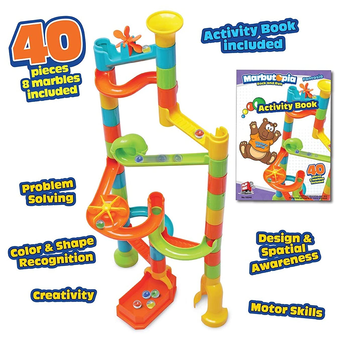 Playmind Marbutopia Fantasia Set (40 pcs) Best Marble Run STEM Toy for Kid Education