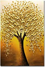 Yotree Oil paintings, 24x36 Inch Golden Flowers Tree Luck Tree Oil Hand Painting Painting 3D Hand-Painted On Canvas Abstra...