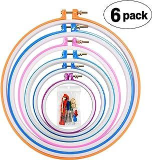 Povad Stickrahmen Set Stickerei Ring Embroidery Hoop Cross Stitch Hoop - 6 Größe 29 cm, 25 cm, 20 cm, 18 cm, 16,5 cm und 13 cm Hoop, mit Zubehör