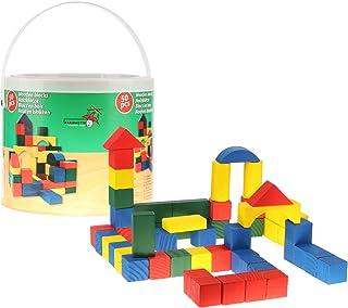 COM-FOUR® 50x drewniane klocki w wiaderku - drewniane zabaw