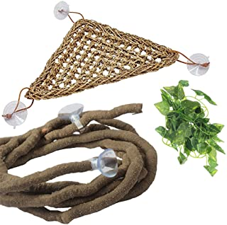 PIVBY Bearded Dragon Hammock Jungle Climber Vines Flexible Reptile Leaves with Suction Cups Habitat Decor for Climbing, Chameleon, Lizards, Gecko, Snakes