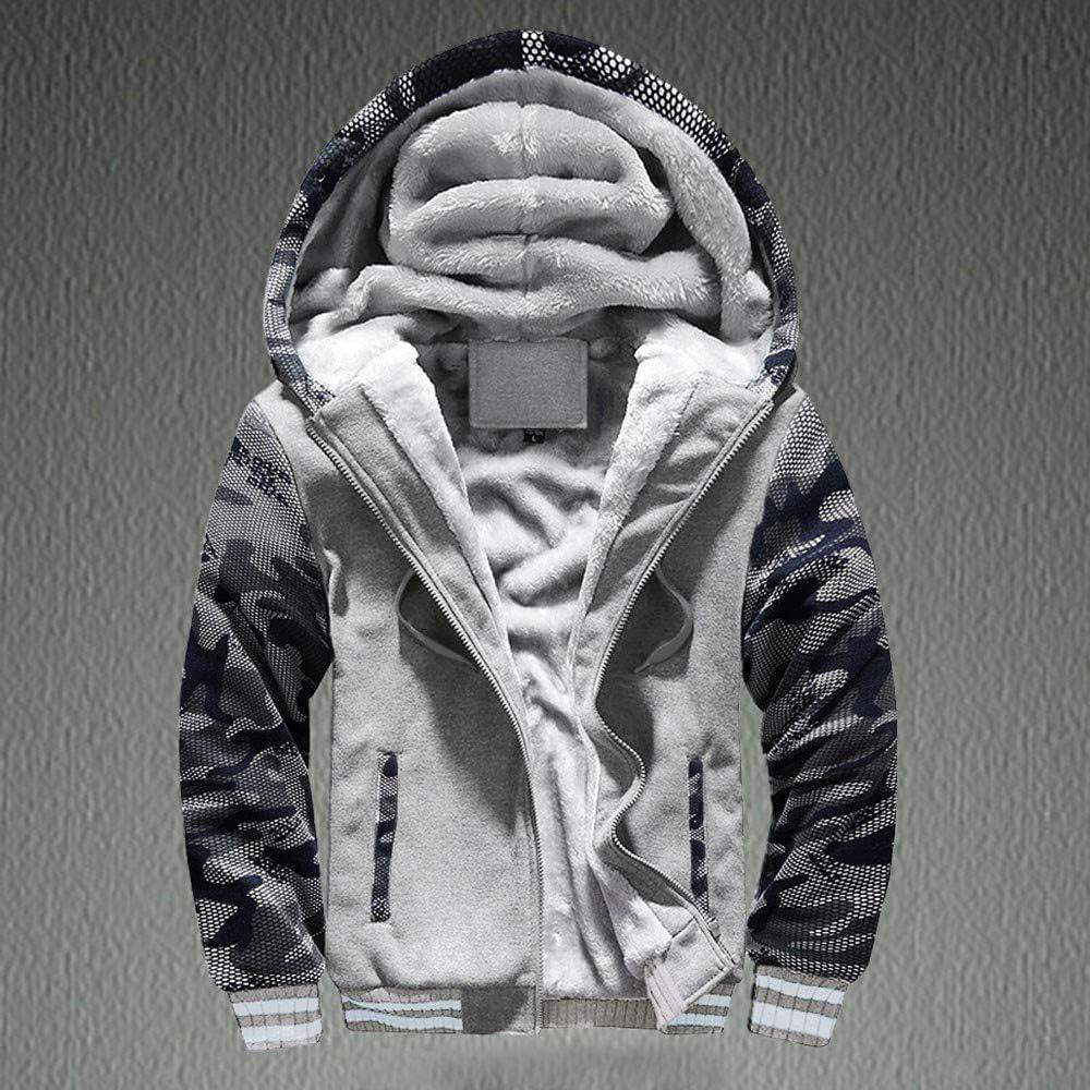 Mens M-4XL Winter Tops Warm Fleece Hood Zipper Sweater Jacket Outwear Coat