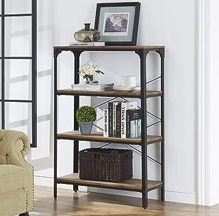 "O&K FURNITURE 4-Shelf Industrial Vintage Bookcase, Metal Bookshelf, 48""H x 33""W x 13""D, Barn-Wood Finish"