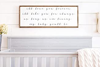 Framed Wood Sign Rustic Wooden Sign Ill Love You Forever Ill Like You For Always Sign I'Ll Love You Forever I'Ll Like You For Always Ill Love You Forever Sign 6 x 20 Inch Decorative Sign Home Decor