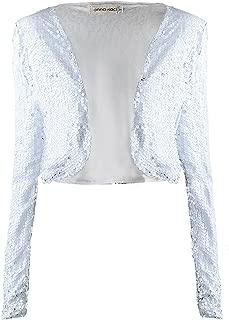 white sequin coat