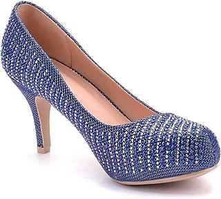 Mila Lady PAOLA06 Cinderella Princess Sparkle Crystal Gem Rhinestone Glitter Formal Pumps, Wedding Shoes Dress Heels