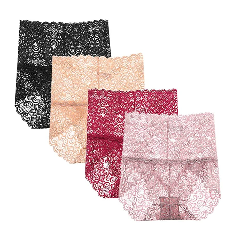 Femaroly Women Sexy Lace Underwear High Waist Tummy Control Panties Briefs(Pack of 4)