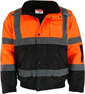 Tuff Grip Men's Fluorescent Water Resistant Jacket with Quilted Lining, 5XL Orange
