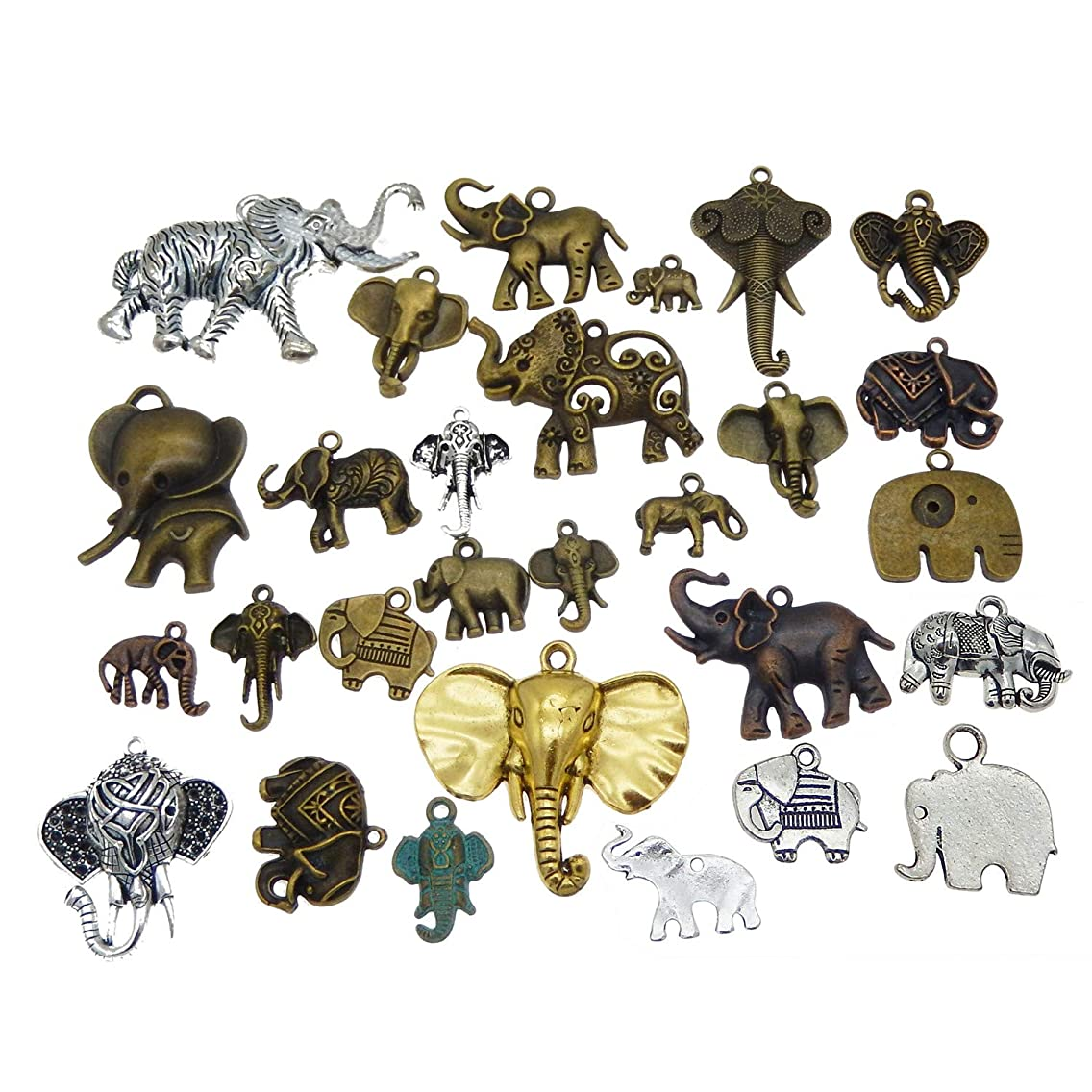 Mixed Animal Elephant Charms Pendants Findings Craft Supplies for Jewelry DIY Necklace Bracelet Making 20pcs