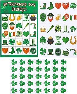 BESTOYARD 33 Sheets St. Patrick's Day Bingo Game Set Shamrock Bingo 24 Players for Kids St.Patrick's Day Decorations