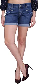 KVL Cotton Woven Denim Shorts for Women-Mid Blue