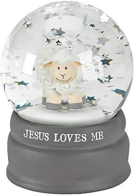 Dicksons Jesus Loves Me Little Lamb Stars 4.75 x 6 Inch Resin Stone Glitter Globe Figurine