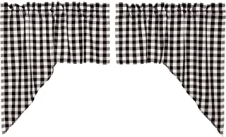 VHC Brands Classic Country Farmhouse Kitchen Window Curtains - Annie Buffalo Check White Lined Swag Pair, Black
