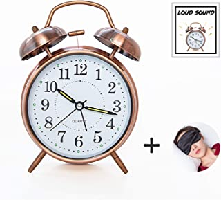 ELECPOINT [Loud Sound] 4'' Twin Bell Alarm Clock with Backlight, Battery Operated, Loud Alarm for Deep Sleepers, On Bedside/Desk/Table for Home/Office (Red Brown)
