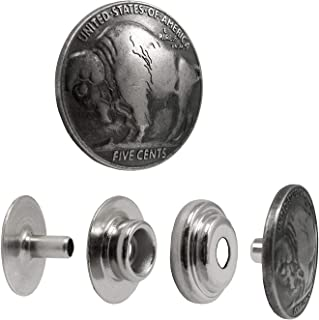 Springfield Leather Company Decorative Buffalo Nickel Line 24 Snap Set 5 Pack Prime
