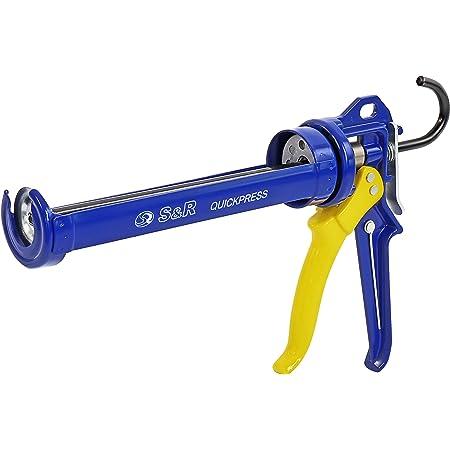 S&R Pistolet à cartouche Silicone Professionel en métal. Pour Cartouches de Silicone etc. jusqu'à 310ml, Transmission de force 18:1