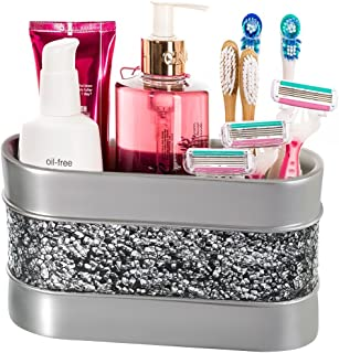 Brushed Nickel Bathroom Organizer Cosmetic Organizer 3-Compartments Vanity Organizers- Countertop Makeup Brushes Caddy/ Ha...