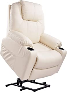 Furgle Power Lift Recliner Chair with Massage, Heat and Vibration Elderly Massage Recliner TUV Certified Living Room Lounge Sofa Faux Leather with 2 Remotes, Side Pockets and Cup Holders - Cream White