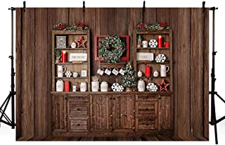 MEHOFOTO 7x5ft Winter Merry Christmas Brown Wooden Board Backdrop Cabinet Gift Shelf Candle Photo Background Xmas Party Decoration Banner Photo Booth Props