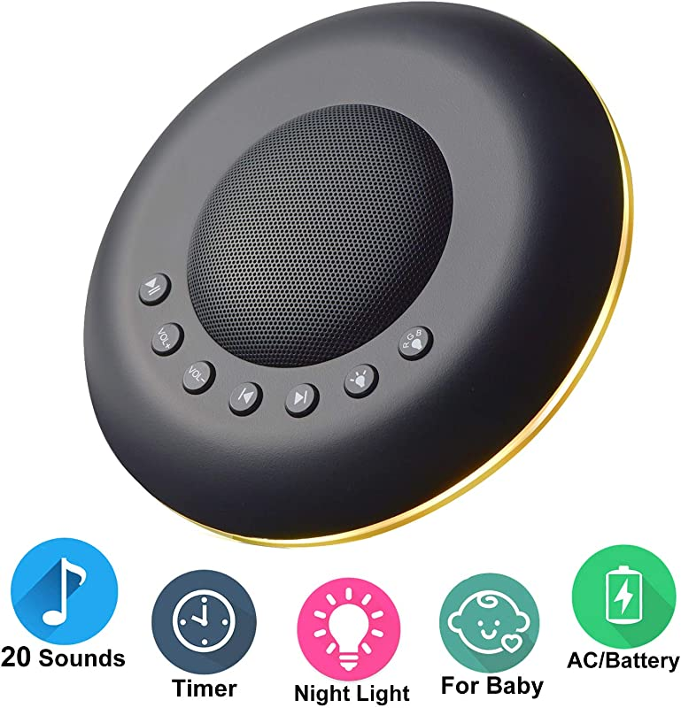 Sound Machine For Sleeping TopCrazy Portable White Noise Machine For Baby Adult Night Light 20 Non Looping Soothing Sounds 3 Auto Off Timer Battery Or USB Output Charger Memory Function