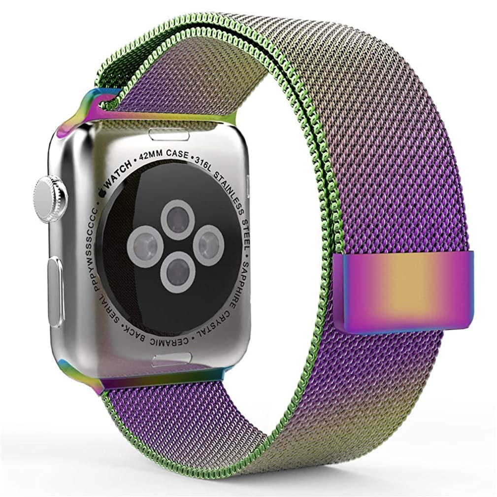 KXIN for The Apple Watch Strap, Suitable for Iwatch 4 Milanis One-Piece Color Decorative Powerful Magnetic Buckle 40Mm and 44Mm,Rainbowcolor,40Mm
