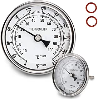 Dial Thermometer 1/2 NPT Thread Pot Thermometer 304 SS Kettle Thermometer with Mounting Assembly for Brewing Beer (3