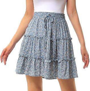 Vanansa Summer Mini Skirt for Women Floral Ruffle High Waist A-line Skirt for Ladies Bohemian Casual Short Lace-up Skirt w...