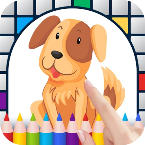 Cartoon Dogs Color by Number - Free Pixel Art Game - Coloring Book Pages - Happy, Creative & Relaxing - Paint & Crayon Palette - Zoom in & Tap to Color - Share Creations with Friends!